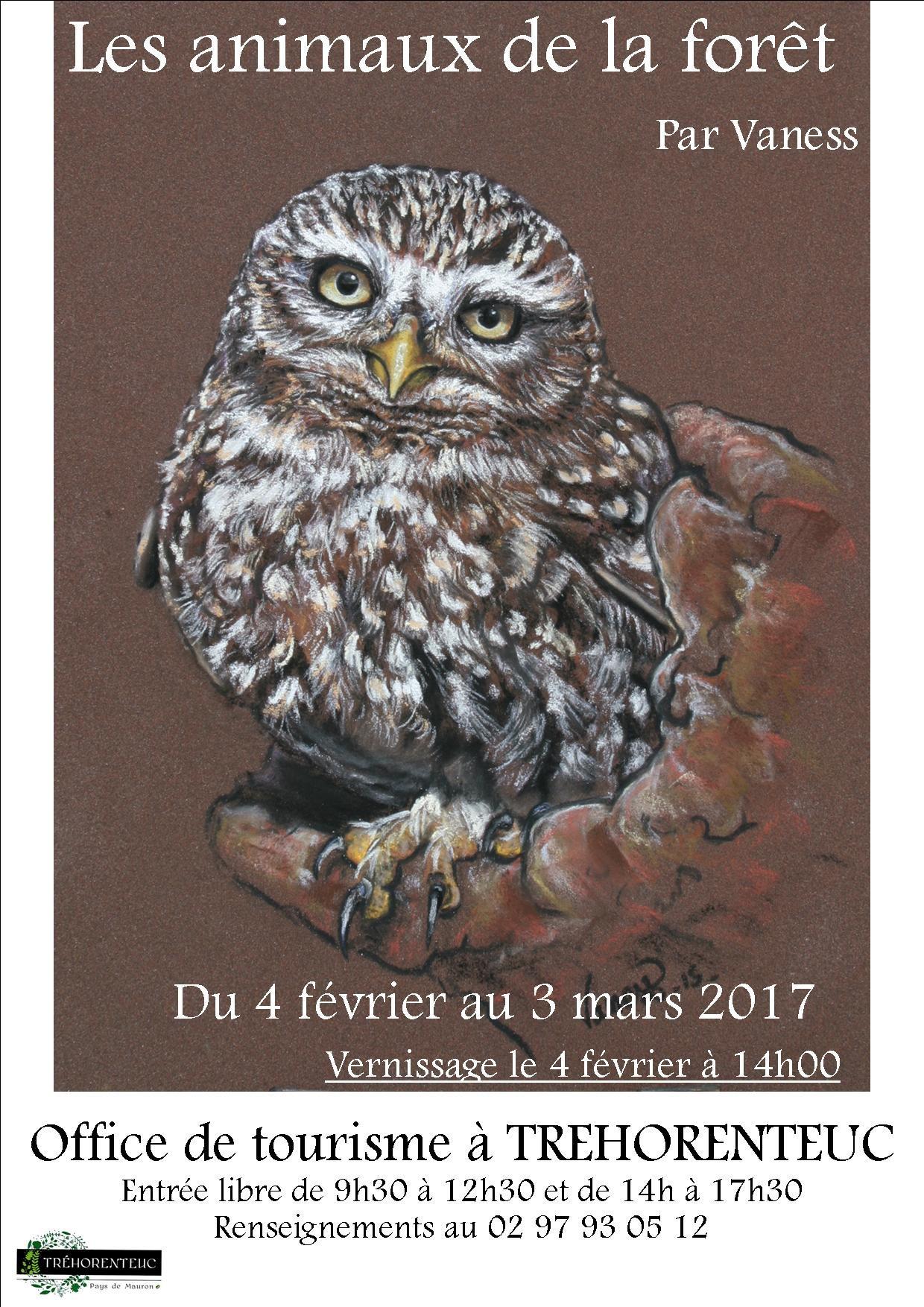 Exposition les animaux de la for t par vaness broc liande en bretagne - Office tourisme trehorenteuc ...
